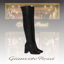 Gianvito Rossi Round Toe Casual Style Plain Leather Office Style
