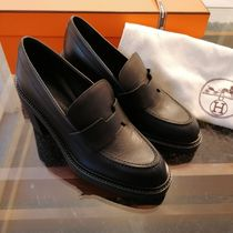 HERMES Rubber Sole Casual Style Plain Leather Block Heels