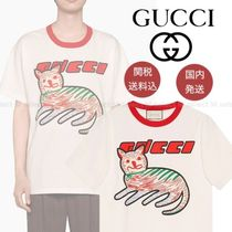 GUCCI Crew Neck Street Style Plain Other Animal Patterns Cotton