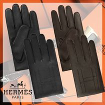 HERMES Unisex Cashmere Plain Leather Leather & Faux Leather Gloves