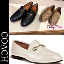 Coach Round Toe Casual Style Plain Leather Office Style