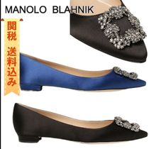 Manolo Blahnik Hangisi Casual Style Plain Party Style With Jewels Office Style