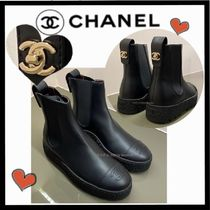 CHANEL ICON Casual Style Plain Leather Chelsea Boots
