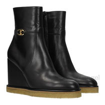 CELINE Casual Style Plain Leather Party Style Chunky Heels