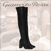 Gianvito Rossi Square Toe Casual Style Street Style Plain Leather