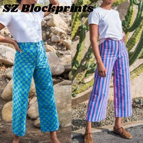 SZ BLOCKPRINTS Printed Pants Stripes Other Plaid Patterns Casual Style