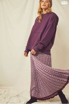Free People Casual Style Pleated Skirts Tie-dye Long Elegant Style