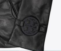 Tory Burch MILLER Leather Logo Leather & Faux Leather Gloves