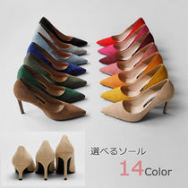 Suede Plain Pin Heels Party Style Office Style Elegant Style