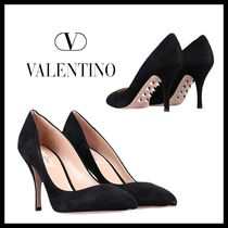 VALENTINO Round Toe Suede Studded Plain Leather Pin Heels Party Style
