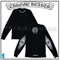 CHROME HEARTS FLORAL CROSS Street Style T-Shirts