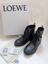LOEWE Round Toe Rubber Sole Lace-up Casual Style Street Style