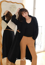 Since Then Casual Style Wool Blended Fabrics Plain Medium Office Style