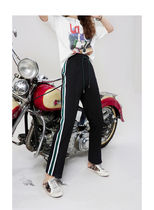 ELF SACK Stripes Leopard Patterns Casual Style Street Style Long