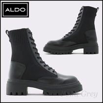 ALDO Leather & Stretch Knit Lace-up Combat Boots - Reflow