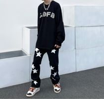 Printed Pants Star Street Style Cotton Oversized Chinos