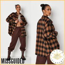 Missguided Gingham Casual Style Street Style Long Sleeves Plain