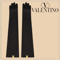 VALENTINO Silk Plain Leather Bridal Logo Leather & Faux Leather Gloves