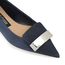 Sergio Rossi Plain Toe Rubber Sole Casual Style Suede Blended Fabrics