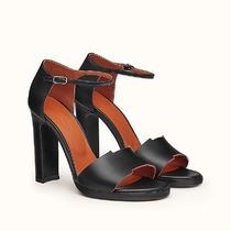 HERMES Open Toe Casual Style Plain Leather Party Style