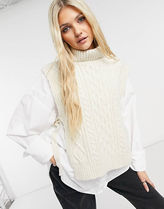 ASOS Cable Knit Casual Style Unisex Rib Sleeveless Street Style