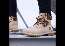 Timberland Leopard Patterns Mountain Boots Rubber Sole Casual Style