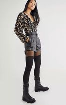 Free People Short Flower Patterns Casual Style Long Sleeves Party Style