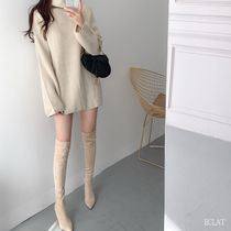 Casual Style Suede Faux Fur Plain Block Heels Party Style