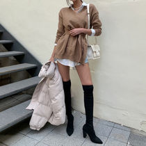 Casual Style Block Heels Party Style Over-the-Knee Boots