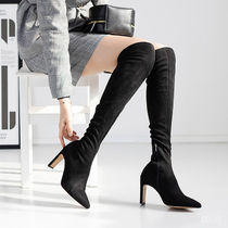 Casual Style Suede Plain Block Heels Party Style