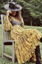 Free People Flower Patterns Casual Style Maxi Flared V-Neck Long Sleeves