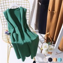 Casual Style Plain Long Midi Elegant Style Icy Color Vests