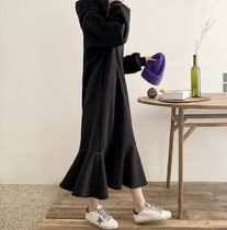 Casual Style Maxi Long Sleeves Plain Cotton Long Oversized