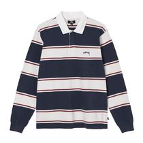 STUSSY Pullovers Stripes Unisex Street Style Long Sleeves Cotton