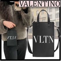 VALENTINO Casual Style Street Style Leather Logo Shoulder Bags