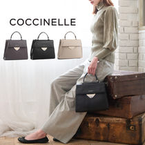COCCINELLE Casual Style Vanity Bags 2WAY Plain Leather Party Style