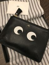Anya Hindmarch Tassel Bi-color Leather Logo Pouches & Cosmetic Bags