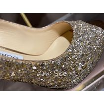 Jimmy Choo Open Toe Plain Pin Heels Party Style With Jewels