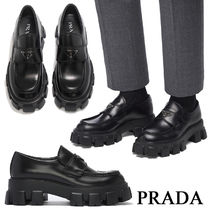 PRADA Loafers Unisex Street Style Leather Logo Loafers & Slip-ons