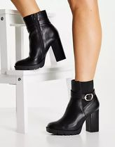ASOS Casual Style Faux Fur Block Heels Chelsea Boots
