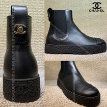 CHANEL Unisex Plain Leather Logo Ankle & Booties Boots