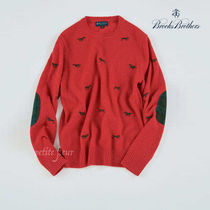 Brooks Brothers Crew Neck Long Sleeves Other Animal Patterns Sweaters