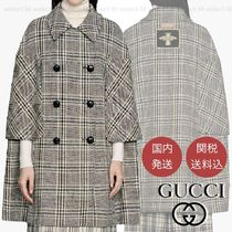 GUCCI Tartan Wool Street Style Leather Logo Ponchos & Capes