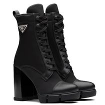 PRADA Brushed leather and nylon booties