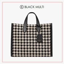 kate spade new york Gingham Flower Patterns Casual Style A4 Leather Office Style