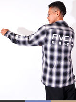 RVCA Gingham Other Plaid Patterns Unisex Long Sleeves Logo Shirts