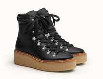 HERMES Mountain Boots Rubber Sole Casual Style Street Style Plain