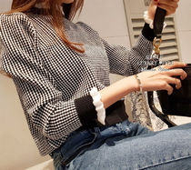 Other Plaid Patterns Puff Sleeves V-neck & Crew neck