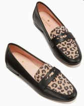 kate spade new york Leopard Patterns Round Toe Casual Style Leather