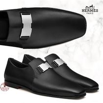 HERMES Driving Shoes Moccasin Loafers Street Style Plain Leather